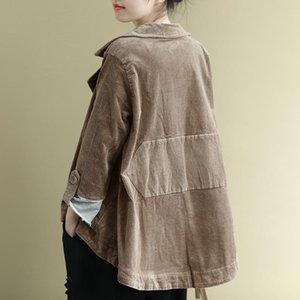2020 Ancient Coffee Clothes Autumn Corduroy Denim Jacket Women Harajuku Chaqueta Mujer Veste Femme Riverdale Streetwear Coat