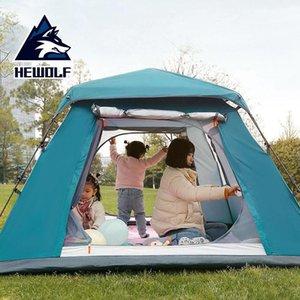 Hewolf Открытый кемпинга Автоматическая Скорость Палатка Открытие Утолщенные 34 человек Парк отдыха Море непромокаемые Солнцезащитный Семейный Палаточный