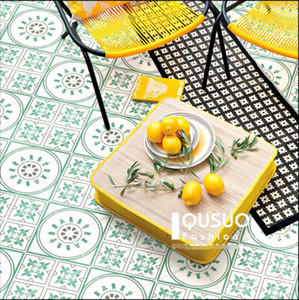 Nordic Green small flower brick restaurant balcony wall and floor tile Morocco kitchen bathroom flower tiles