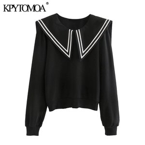 KPYTOMOA Femmes Mode Patchwork Sweat-shirt Vintage O manches longues Femme Chic Pullovers Tops 201008