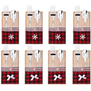 Utensile da imballaggio Holder Holder Bag Lace Knife Forcella Forcella Penistene Allentatrici Christmas Wedding Party Decoration GWD2769