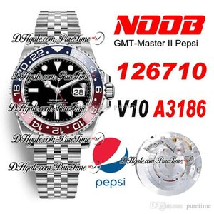 2020 N V10 GMT A3186 Automatic Red Blue Ceramics Bezel Pepsi Black Dial Mens Watch Best Edition 904L Steel Jubilee Bracelet Puretime A1