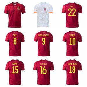 20 21 İspanya Futbol Forması 9 Paco Alcacer 7 Morata 15 Sergio Ramos 20 Cazorla 5 Busquets Oyarzabal Futbol Gömlek Kitleri