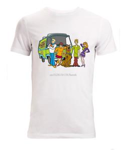 Новое лето Мужчины Горячие Продажа Мода Scooby Doo мультфильм Картина Мужчины Доступные Белые дизайнеры балахон футболки толстовка