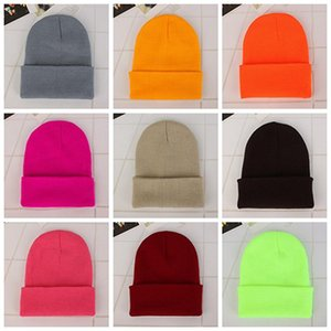 Wholesale Candy Color Beanie Hat Winter Knitted Woolen Warm Outdoor Sports Elastic Decor Hats Slouchy Beanie Woolen Caps DH0509 T03