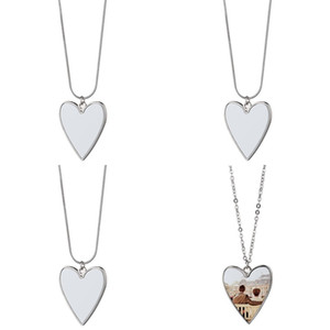 Stainless Steel Chain Sublimation Blank Alloy Love Heart Pendants Charm Fashion Women Lady Necklaces Valentines Romantic 5 5mo N2