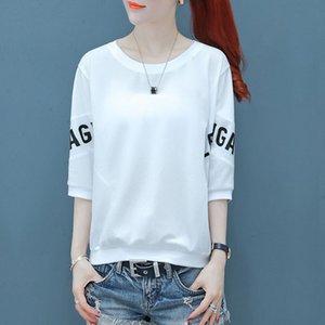 Хлопок T- женщины ins2020 летних корейских новых женщин сыпучих женщин половины футболки рубашка Underpants рукав рубашка нижнего пальто a75ez