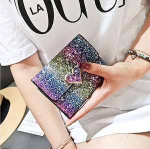 5 style Designer Fashion sequins Wallet short purse Female Short Retro Fold Change Wallet Pures Hot Sale Mini Womens Bags Factory Price