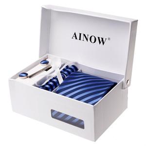 Ainow الذكور التعادل هدية مجموعة 5 البنود التعادل + منديل + التعادل المشبك + هدية مربع + زر * 2 الأعمال عارضة نمط التعادل الذكور التعادل، مباراة اللون بسيطة ونضجة، مع