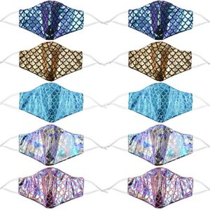 Colorful mermaid face mask with filter pocket sequin rainbow anti dust face covers laser washable designer masks BEE2138
