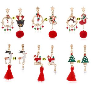 Christmas Earrings Christmas elk Christmas Tree Earrings Snowman crutch for women and girl Pendant Earrings Party Favor GH865