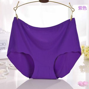 V007 4Pcs Lot Ice Silk Panties Comfortable Breathable Women Underwear Plus Size 6XL Female Lingerie Solid Briefs