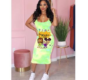 women designer dresses fashion tie-dyed cartoon suspender skirt designer t shirts dresses ladies casual dresses summer66