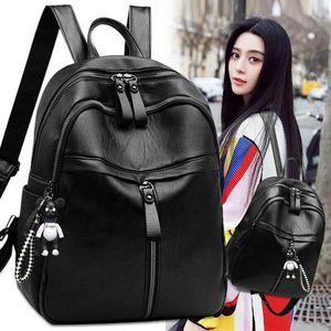 NoEnName-Null Fashion Women's Backpack Travel PU Leather Handbag Rucksack School Shoulder Bag
