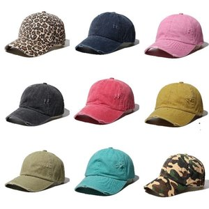HOT 30PCS 포니 테일 야구 모자는 지저분한 빵 모자 여름 트럭 운전사 포니 챙 모자 크로스 크리스 모자 Snapbacks 파티 모자 10styles T500299 씻어