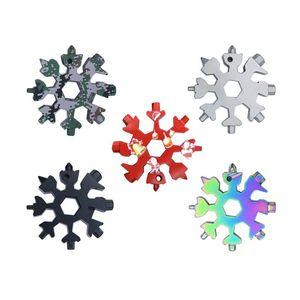 18 en 1 Camping Key Ring Christmas Outdoor Pocket Tool Herramientas de la Cocina Abrebotellas Multifuncional Senderismo Llavero Llavero Copo de nieve llavero Anillo EWF4336
