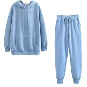 Tracksuits Women Two Pieces Set Hooded Oversized Sweatshirt Pants Solid Color Hoodie Suits Autumn Winter Fleece Y2k Outfits