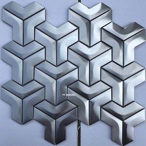 New design special shape 3D brushed metal mosaic tile golden silver rose gold DIY kitchen backsplash modern home decor wall tile
