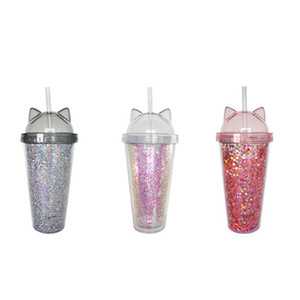 Juice Wine Glass Cat Ear Flashing Double Layer Cup Kids Baby Cartoon Cute Creative Sequins Plastic Tumbler with Straws free shipping 228 G2