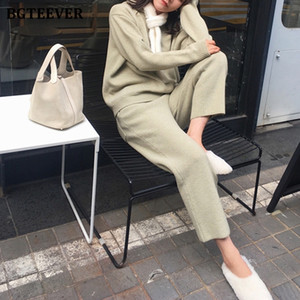 BGTEEVER Warm Women 2 Pieces Set Knitted Outfits Hooded Sweater & Lace-up Pencil Pants 2020 Autumn Winter Female Sweater Set C1103