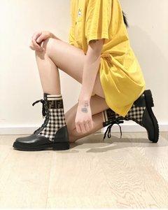 bottes de moto noir tissu tricoté logo F-print cuir Martins bottes chaussures femmes manches tissu élastique mode