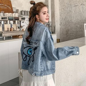 SexeMara fashion New light blue heavy work sequin embroidery long-sleeved denim jacket Free shipping