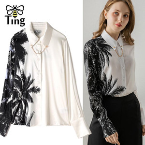 Tingfly Designer Coconut Tree Print High Quality Satin Blouses Vintage Button Up Women Shirts Casual Blusas Office Work Shirts