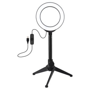 PULUZ 4.7Inch Ring Light LED Desktop Ring Lamp with Tripod Selfie Stick USB White Light for Makeup Studio Photography