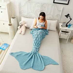 180x80cm Mermaid Tail Super Soft Adults Kids Air Conditioning Sofa Sleeping Bed Girls Knitted Handmade Crochet Mermaid Blanket