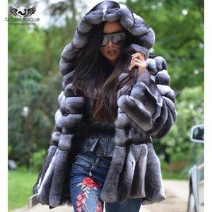 여성 두꺼운 따뜻한 렉스 자켓으로 후드 럭셔리 전체 모피 재킷 일러스트 Tatyana Furclub 리얼 모피 코트 겨울 모피 재킷