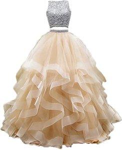 2021 Nouveau Sexy Backless Deux Morceaux Cristal Perles De Boule Robe Quinceanera Robes Sweet 16 Robe Debuante Prom Fête Robe personnalisée 034