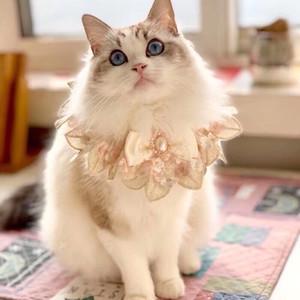 201028 넥타이 활 애완 동물 턱받이 턱받이 다이아몬드 애완 동물 액세서리 레이스 개 목걸이 개 축제 나비 넥타이 고양이 수제 맞춤 샴페인 활