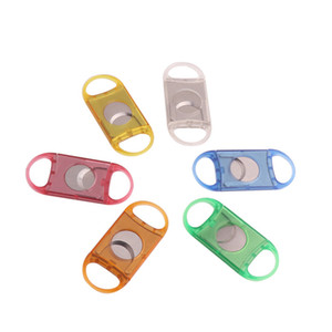 Portable Plastic Blade Pocket Cigar Cutter Round Tip Cigar Knife Scissors Shears Plastic Handles Smoking Tool Accessories LLA118