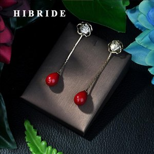 HIBRIDE la moda de joyería de oro colores pendientes cadena larga Red Pearl pendientes para las mujeres S-42