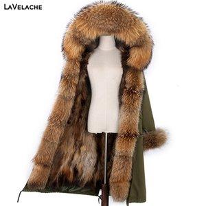 Lavelache X-Long Parka Parka Chaqueta de invierno Mujer Real Piel Abrigo grande Mapache Natural Fur Hood Streetwear Streetwear Detachable Outerwear NUEVO 20112