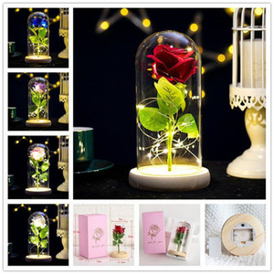Rose Lasts Forever With Led Lights In Glass Dome Valentine's Day Wedding Anniversary Birthday Gifts Party Decoration 5 Colors Free Shipping
