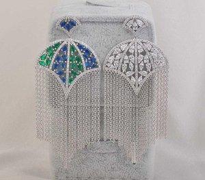 2020 European Fashion Tassel Umbrella Shape Zircon Wind Retro Earrings Dress Earring Women Weeding Gift44