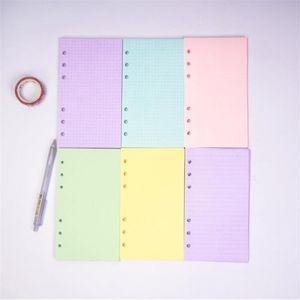 5 Cores A6 Folha Solta Cor Sólida Notebook Refill Espiral Pínaro Página Diário Planejador Linha Grade Em Branco Agenda Office Acessórios