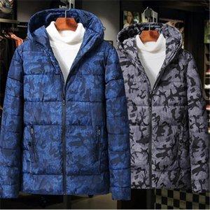 2020 Fashion Winter Fashion New Men's Cotton-imbottito in cotone Slim Slim Warm Camouflage Giacca con cappuccio Top Capispalla Parka