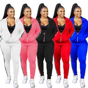Frauen Anzug Art und Weise neue Straße beiläufige Art Sätze lange Ärmel Revers Reißverschluss oben elastische lange Hosen reine Farbe zwei Stück Sätze