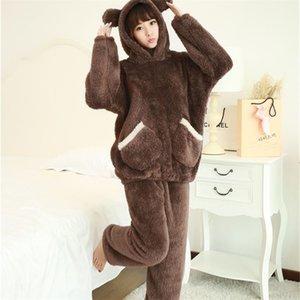 Tiaraka 2020 Marca de inverno Pijamas de flanela conjuntos para mulheres urso sleepwear set para casal coral velo nightwear feminino y200708