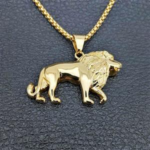 Edelstahl-Löwe-Halskette für Frauen / Männer, Goldfarben-Lions-Kopf-Anhänger Tierschmucksachen, Afrika Lion Ethiopian besten Geschenk Y200918