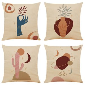 Jane Ou Decorative Painting Linen Cushion Covers Home Office Sofa Square Pillow Case Decorative Pillow Covers Without Insert (18*18Inch)