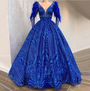 2020 Long Sleeve Feather Royal Blue Prom Dresses Sequins Lace Elegant Evening Formal Dress Glitz Pageant Dresses For Girls Party Prom Gowns