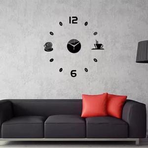 Creative Mute Digital 3D Wall Clocks Acrylic mirrors wall stickers Kitchen coffee time big clock DIY Home Living Room Decoration