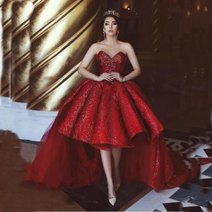 Charming Red Sparkly Prom Dresses High Low Sequins Dubai Formal Runway Evening Gowns Sweetheart Neck Long Train vestido de Marriage Gown