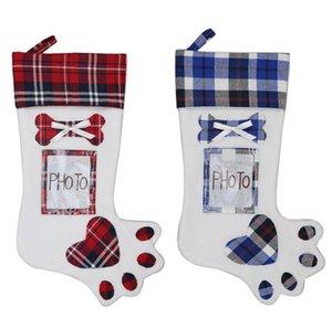 Kreative Hund Pfote Weihnachtsstrumpf Weihnachten Weihnachten Anhänger Dekoration Geschenk Taschen Süßigkeiten Bag Stocking Neujahr Prop Socks Kann Foto HWA2050 setzen