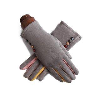 Invierno Mujer sola capa caliente de la cachemira completa del botón de dedo Ciclismo manoplas ante de las mujeres del cuero de la pantalla táctil guantes de conducción J23
