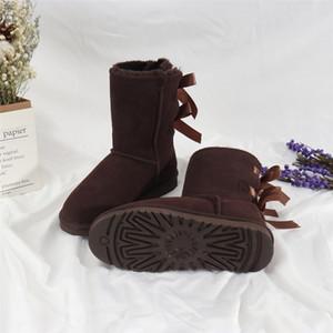 Bravover New Quality Hiver Fashion Hommes Bow Boots de neige Split Cuir Bottines Bottines Chaussures Chaussures en peluche de fourrure chaude Plus Taille008 # 960