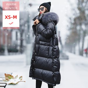 New Winter Real raccoon Fur Collar Long White Duck Down Jacket With Dood Female Loose Thick Casual Warm Zipper lovers' clothes 201015